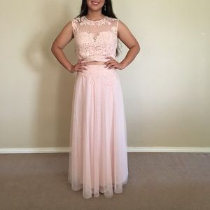 Blush Pink Two Piece Prom Dress